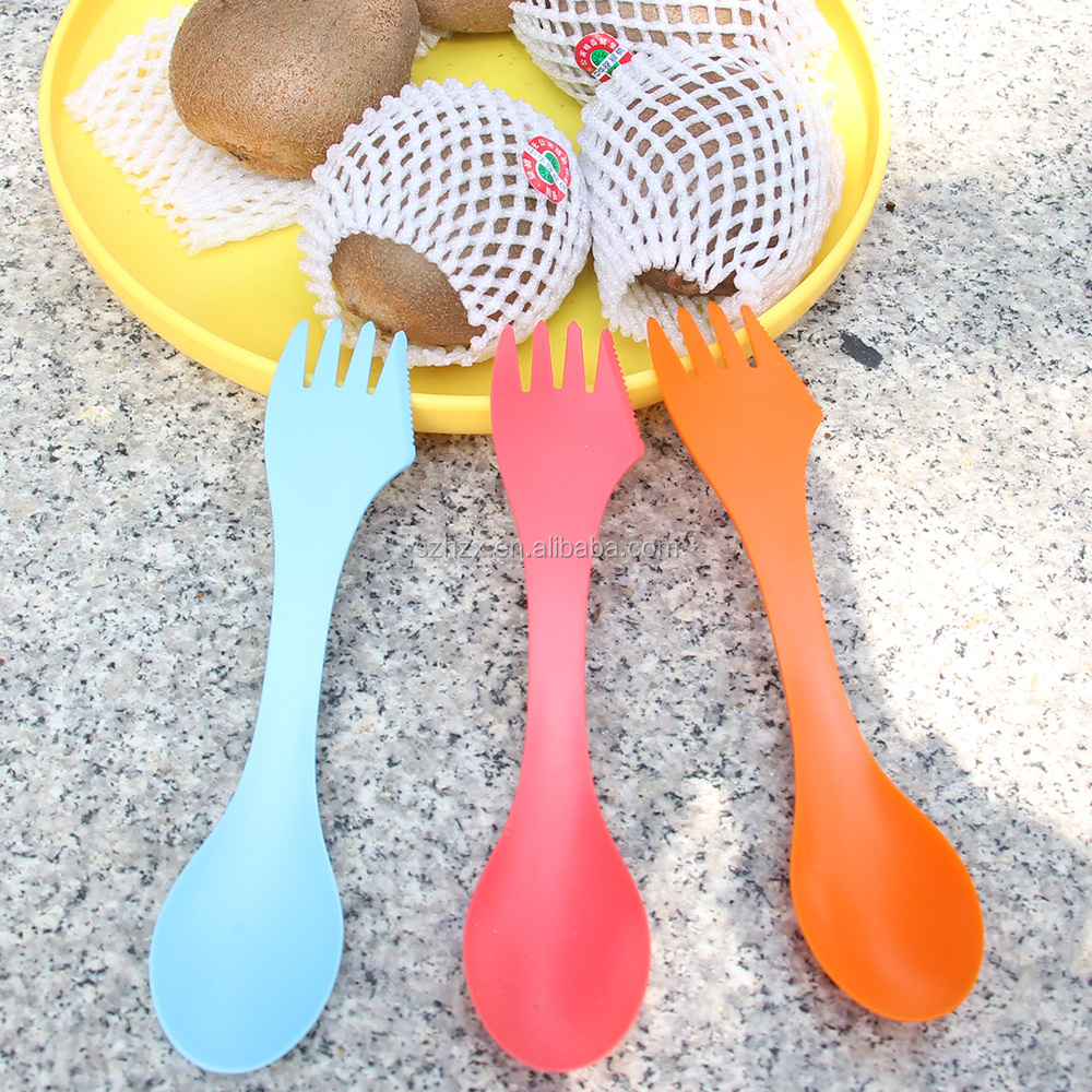 colorful plastic spoon/plastic fork spoon knife in one