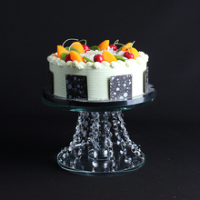 new style wholesale wedding decoration crystal cake stand with hanging beads