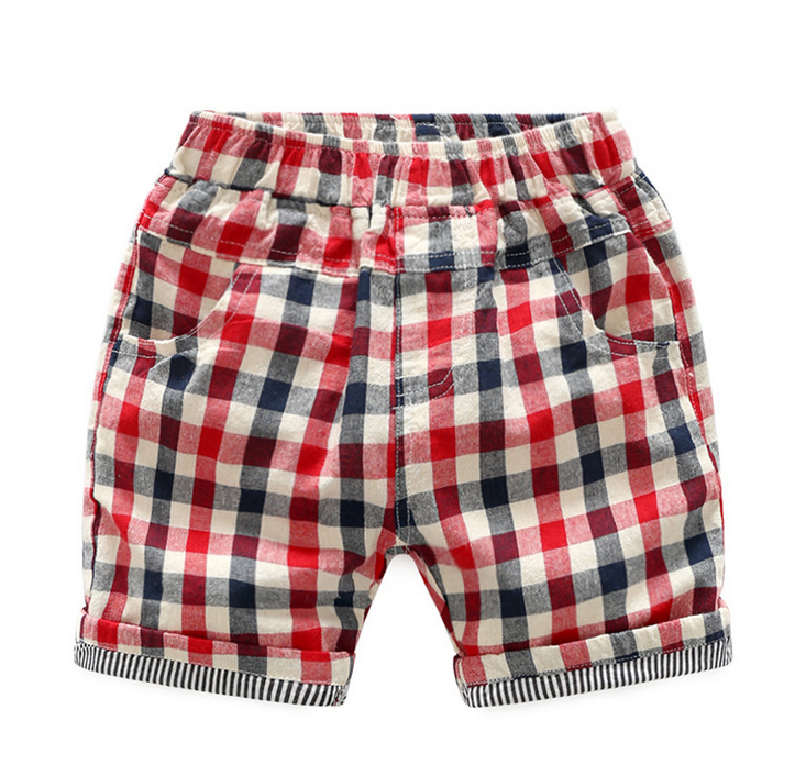2017 new design OEM high quality Boy plaid baby shorts