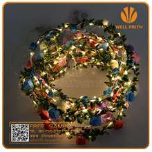 Festival items silver wire LED string lights flower garland for vacation, LED flower Lei