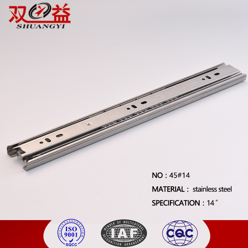 Professional Manufacturer Good Sell Furniture Fittings 45MM Full Extension Soft Close Stainless Steel Telescopic Drawer Slide