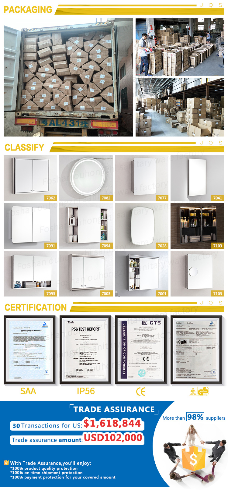 bathroom accessories set catalogue from OU HONG ZHI sanitary ware factory