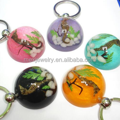 Hemisphere Metal Animal Shape Resin Real Dried Sea Animal Seahorse Keychain for advertising promistional