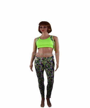 Women Sport Yoga Set Gym Running Sport Suit Elasticity Fitness Clothing Workout Sport Wear Sports Bra Print Pants Bandeau