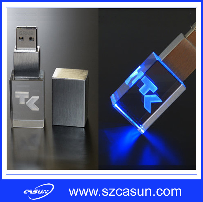 2016 fashional usb flash drive 3D logo crystal usb pen drive with cheap price