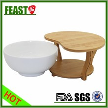 Hotel or Restaurant Used Ceramic Salad Bowl with special bamboo rack