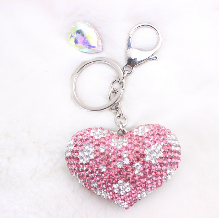 Fashion Korean Colorful Crystal Accessory Big Sweet Heart Keychain Manufacturers