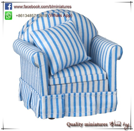 1:12 Scale Blue And White Stripe Sofa Chair Furniture Miniature Accessories For Doll Houses