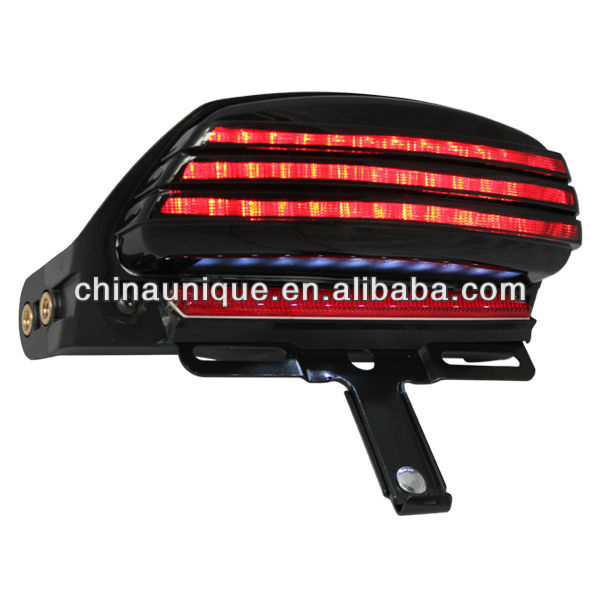 Smoke Led Tri-Bar Tail Light with red reflector and adjustable license plate bracket for Harley DavidsonSoftail FXST FXSTB FXSTC