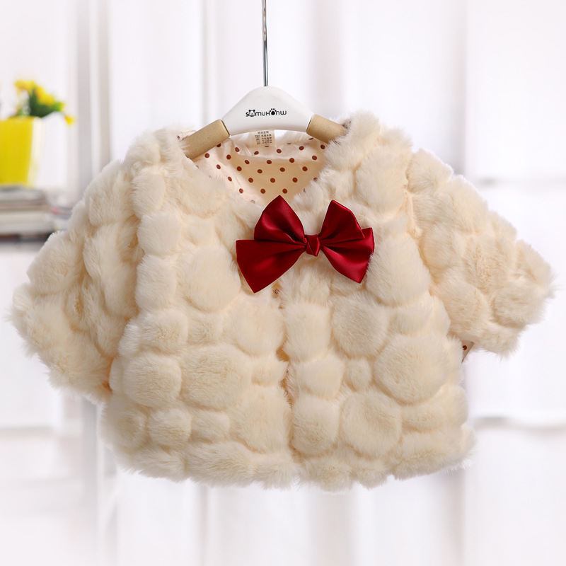 2017 children autumn winter clothing baby girl fur cape kids seven sleeve cape coats