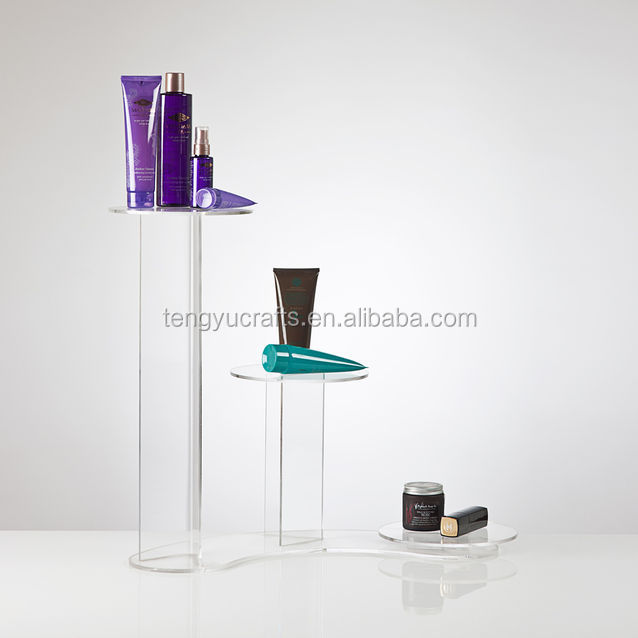 high counter beauty product display rack acrylic cosmetic perfume 3 Tier Display Stand for jewelry display