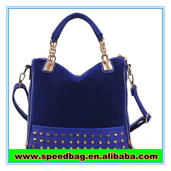 2014 the most popular handbag Blue women leather handbag