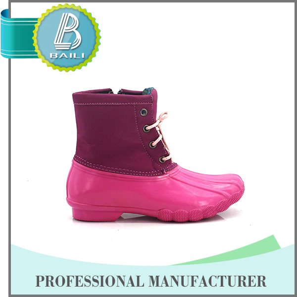 Natural rubber rain boots with strap for girls