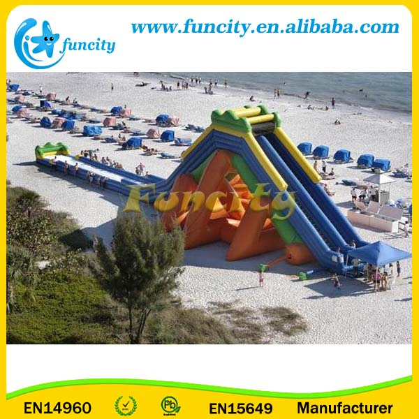 50 Meter Long Hippo Inflatable Water Slide ,Large Inflatable Water Slide