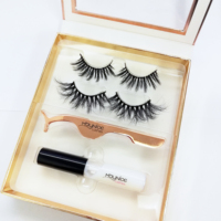 3d mink lashes box and 2 pairs Custom 25mm Eyelash package with tweezer and glue