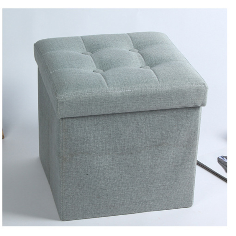 2019 Classical Linen Furniture Folding Storage Ottoman Stool With Button