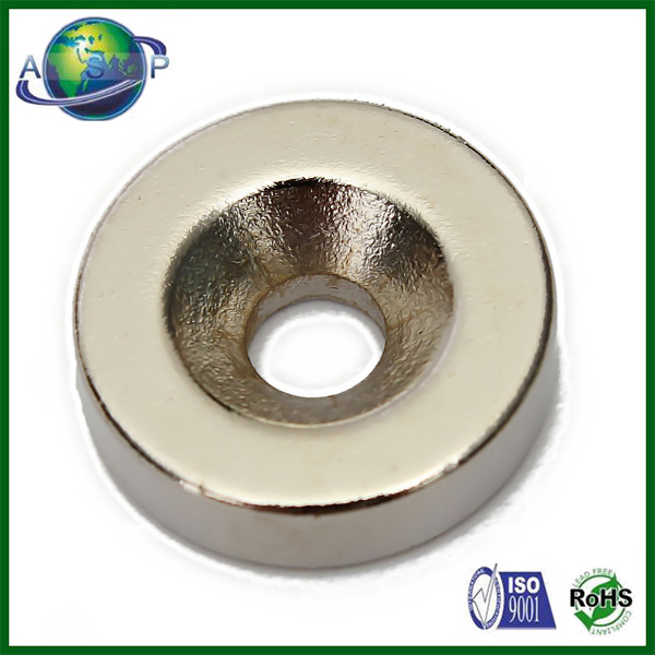 "Rare Earth 3/4""x 1/8"" Countersunk Ring Neodymium Magnet"