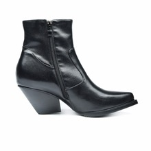 new arrival ladies mid heel chunky black leather boots women shoes