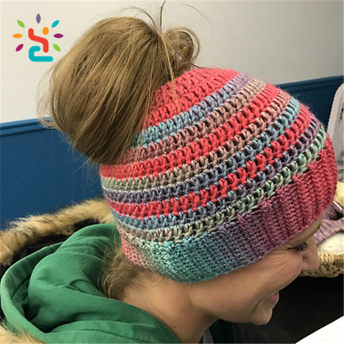 2017 ponytail Straight beanie hat needle knit hats women summer patterns winter knitted beanie coutom baby hat cotton winter