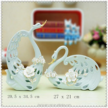 Creative Wedding Favors Couple Green Porcelain Swan Ceramic for Home Decoration