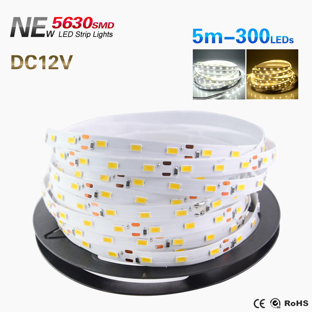 DC12V 5630 LED strip flexible light 60 led/m,5m 300LED, IP65 Waterproof for indoor Home party Hotel