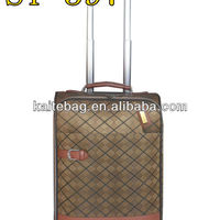 Brown Diamond Fabric Fake Button Trolley