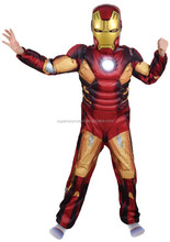 Children the avengers Iron man costume with musle .stretchy party clothes ,clothing for kid,3 sizes,4-12 ages
