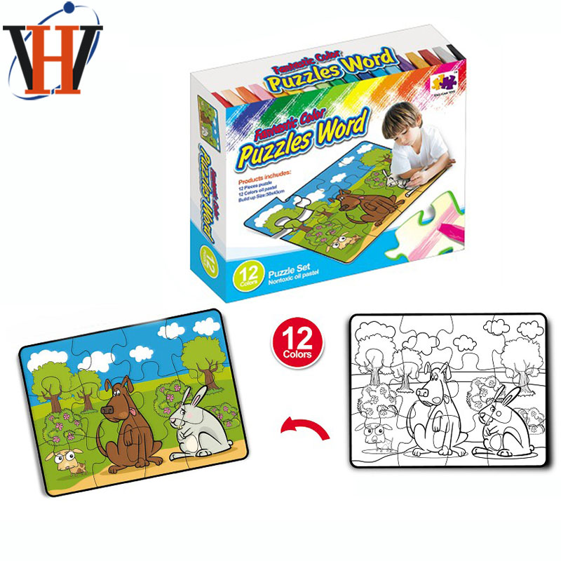 Puzzle game coloring card paper jigsaw puzzle with crayon