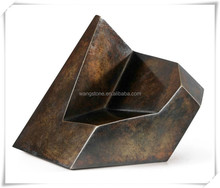 Modern abstract indoor irregular polygon bronze sculpture