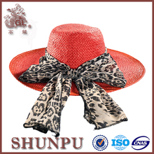 lady red fashion paper raffia handmade straw hats with decroation