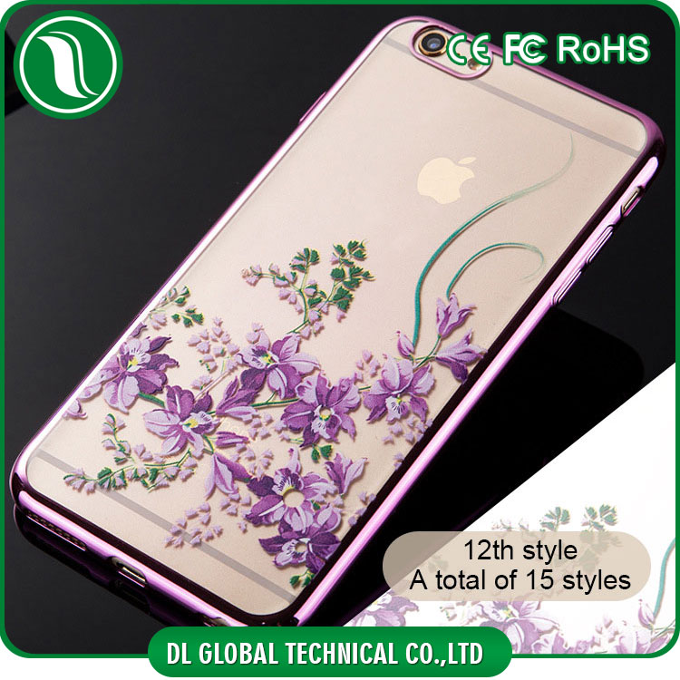 New 2016 crystal beads mobile case with uv printing of multiple designs for iphone 4 transparent electroplating tpu case