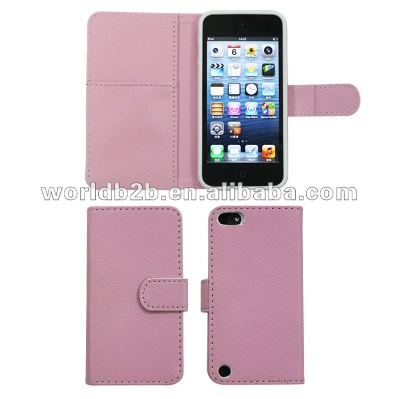 Book Style Leather cover & PC or TPU Case for iPod Touch 5