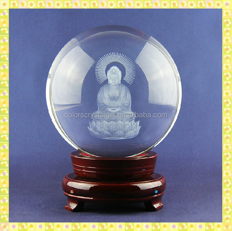 80mm Crystal Ball Laser Engraved Crystal 3D Buddha With Red Wooden Base