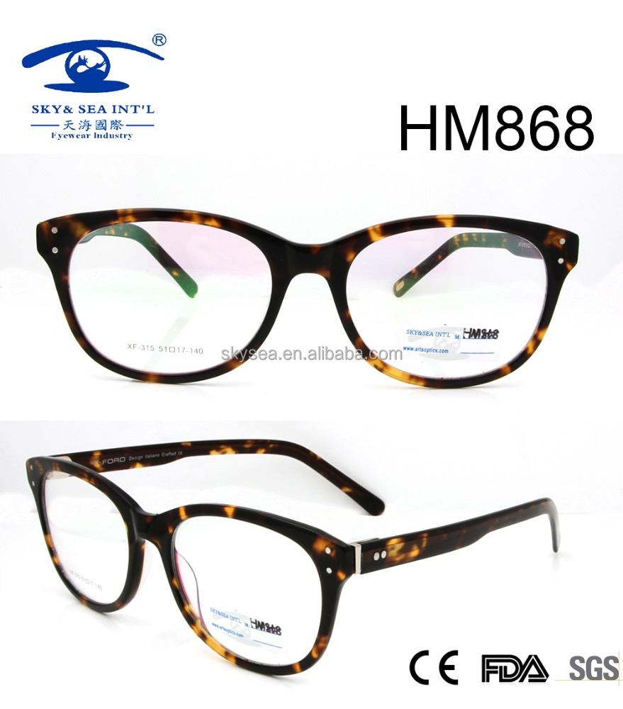 oval shape demi brown acetate optical frames