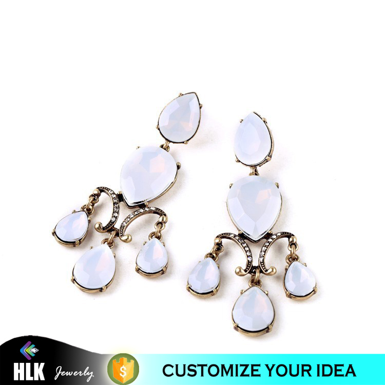 New Design Fashion Pop <strong>Water</strong> Drop White Dangle Trendy Opal Beautiful Long Gold Accessory For Women Bridesmaids Wedding