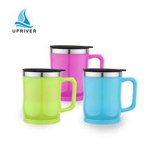 custom stainless steel insulated travel mug with handle