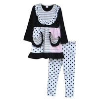 European Style Lovely Pockets Shirts Polka Dots Legging Fall Boutique Girl Clothing