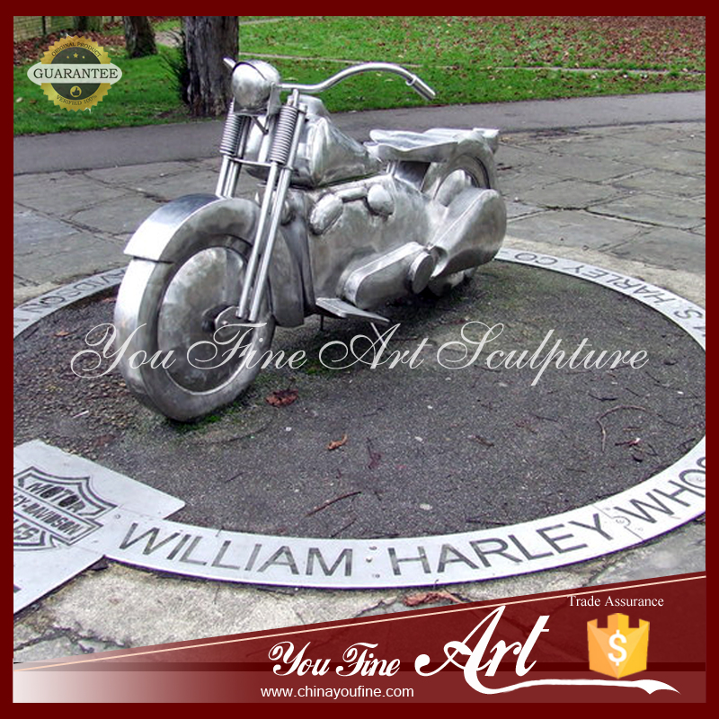 Outdoor Stainless Steel Sculpture Of Harley Motorcycle