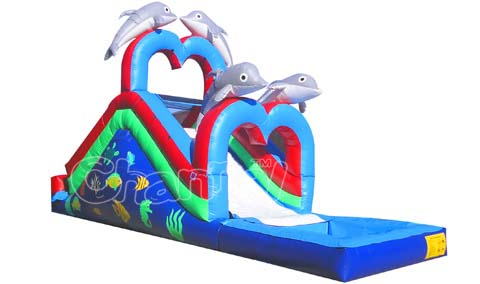 Kids Inflatable Aqua Park,Large Inflatable Dolphin Water Slide with Pool Climbing and Archy