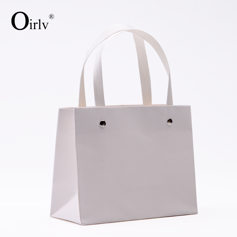 Oirlv Simple Cheap Paper Shopping Bag For Jewelry Ring Necklace Bracelet Watch Cosmetic Display Cabinet White Kraft Paper Bag