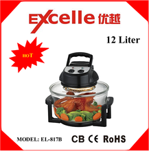 12L black color portable electric halogen convection oven