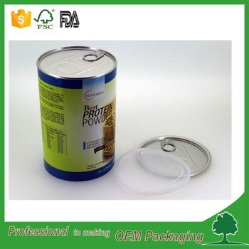 food grade tear off lid paper tube composite can for food packaging canned food box cardboard tube