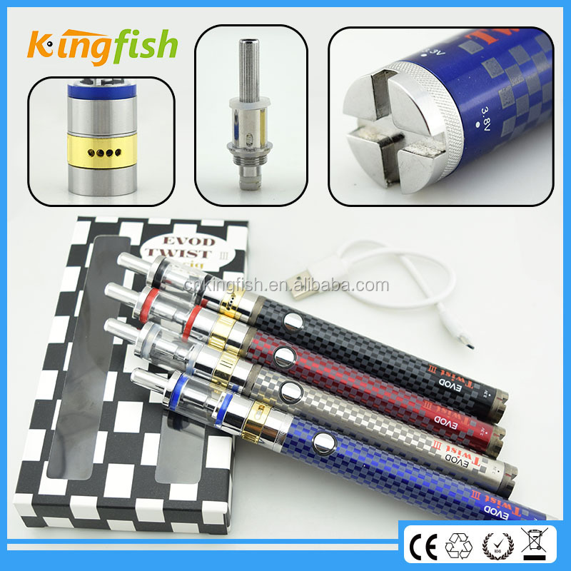New variable voltage ecig 3.2-4.8v variable voltage battery evod twist 3 m16 attachment for glasses with factory price