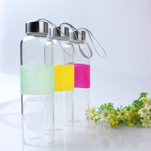 BPA free factory handmade unique logo printing heat resistant transparent clear borosilicate glass water bottle with screw cap