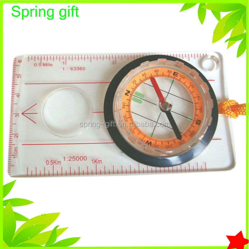 Quality Various style Mini compass /Different Size Clear Liquid-filled Plastic compass