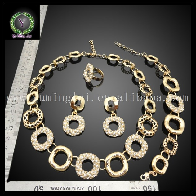 Hot sale bridal circles gold plated jewelry set FHK1440