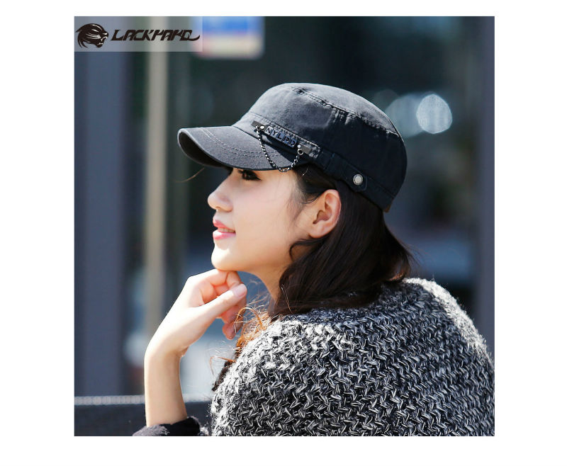 ladies cotton fashion european style flat-top cap/military style outdoor trucker baseball hat cap