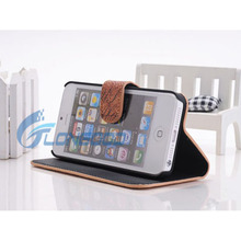 Book Style High Quality Leather Wallet Case for iphone5 Cover ,For iPhone 5 Card Holder Phone Case