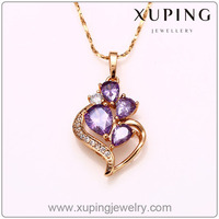 31735 Wholesale xuping luxury rose gold color women crystal necklace pendant