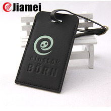 Personalized logo black custom made PU leather luggage tag